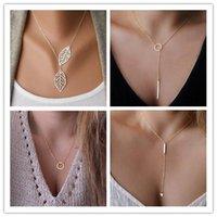 Wholesale Q Link Pendant - Women Trendy Necklaces Fashion Simple Gold Plated Circle Pendant Choker Necklace Ladies Short Clavicle Chain Wholesale Y#175 Q#63