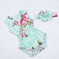 Wholesale Girls Cotton Pajamas Sale - Hot Sale digital floral pattern dress Infant Girl dress Ruffle Cotton chic dress with headhand short Sleeves