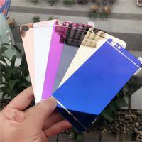 sticker iphone 5s pleine couverture achat en gros de-Avant + Arrière Miroir Protecteur D'écran En Verre Trempé Placage Coloré Pleine Couverture En Verre Autocollant De Protection Film pour iphone 6 7 plus 5s 5 4