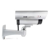 Wholesale Cctv Camera Viewing Angle - CA-11A Security silver CCTV False Outdoor CCD Camera Red LED Light Dummy Camera new dummy 180 degree viewing angle cctv camera TA