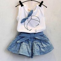 pantalón blanco sin mangas al por mayor-2017 Ropa para bebés Ropa blanca Camiseta azul y pantalones cuadrados Traje de falda Niños Verano Tutu Princess Dress Printed Girl / Bird Pantskirt Set