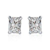 ingrosso orecchini di zircono genuini-I più venduti 925 gioielli placcati in argento Sparkly Genuine Zircon Square Studs Party Donna Donna Orecchini di moda