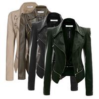 siyah uzun deri ceket toptan satış-Sahte Deri Ceket Moda Fermuar Kadınlar Bayanlar Uzun Kollu Sonbahar Kış Rahat PU Deri Ceket Siyah