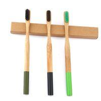 nano yumuşak diş fırçaları toptan satış-Doğa Bambu Aktif Kömür Nano Antibakteriyel Diş Fırçası Yumuşak Kıl Bambu Elyaf Ahşap Saplı Diş Beyazlatma Ağız Bakımı