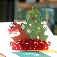 Wholesale Blank Postcards - 3D Pop up Cards Merry Christmas Origami Paper Laser Cut Postcards Gift Greeting Cards Handmade Blank Colourful Christmas Tree