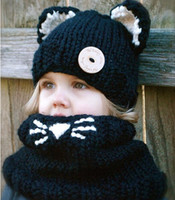 Wholesale Knitted Neck Warmers Hat - cat shape crochet hooded baby scarf winter cute warm children cat neck warp head scarf and beanie knit cowl cap scarves