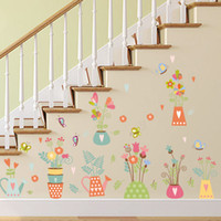 Wholesale Sticker Butterfly Wall Border - Colorful Potted Flowers Butterfly Wall Stickers Kids Room Nursery Wall Border Hallway Decor Wall Graphic Poster Cartoon Bonsai Wallpaper Art