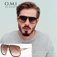 Wholesale Acrylic Brad - High Quality 18K Gold Plated Square Brad Pitt Style Men Sunglasses 2017 Trends Flat Top Brand Grandmaster Sun Glasses STY-SM6001