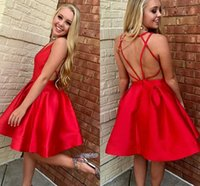 Wholesale Cross Back Cocktail Dress - Red Satin Short Homecoming Dresses 2017 Criss-cross V Neck Puffy Draped A Line Mini Prom Gowns Sexy Back Cocktail Gowns