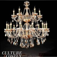 Wholesale Led Candle Light Lamp Amber - Hot Selling Amber color Crystal Chandelier Light Fixture Glass Candle chandelier lamp 12+6L D1050mm 100% Guanranteed