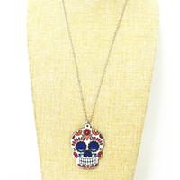 collier jour mort achat en gros de-Calavera Pendentif en crâne fantaisiste sucré-sucré Célébrez le jour mexicain des morts Collier en crâne acrylique en sucre acrylique pour femmes