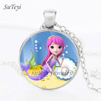 Wholesale Princess Plates - Charms Handmade Crystal Necklace Cartoon Mermaid Princess Glass Pendants Alloy Plated Long Necklaces For Girl Christmas Jewelry