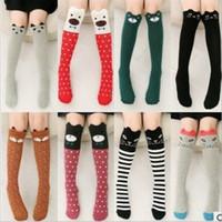 Wholesale Girls Knee High Tube Socks - Wholesale Kids Girl Knee High Socks Lovely Socks Cotton Striped Dot tube Socks Girls Long Sock Fashion Children