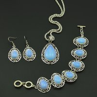 Wholesale Jade White Gold Ring - S99 Water Drop Opal Stone Hollow Necklace Pendant & Earring & Ring per Set Jewlery Set ,Vintage Look,Tibet Alloy, wholesaler