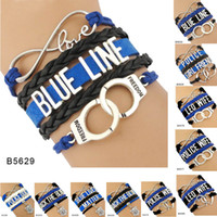 Wholesale Infinity Friends Bracelet - Leo Wife Dog Girl Friend Blue Line Back The Blue Lives Matter Handcuffs Heart To Heart Charm Infinity Love Bracelets For Women Men