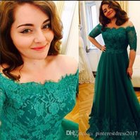 Wholesale Mother Bride Emerald - Mother's Dresses Emerald Green Evening Dress with Mid Sleeves Prom Dresses Evening Gowns Robe de Soiree 2017 mother of the bride dresses