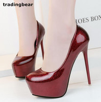 Sexy Women Wine Red Patent PU Cuir Talons hauts Round Toe Platform Pompes Party Prom Taille 34 à 39