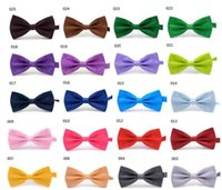 Wholesale Pre Tied Bows Wholesale - Men's Women's Bowtie Bow Tie Solid Colors Plain Silk Polyester Pre Tied Ties For Party Wedding