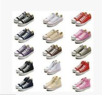 Wholesale Ocean Yellow - New Unisex Low-Top Adult Women's Men's Canvas Shoes 15 colors Laced Up Casual Shoes Sneaker shoes retai Size35-45l