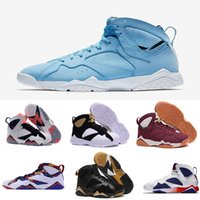 Wholesale Martial Arts Universities - Air retro 7 men basketball shoes Pantone University blue Tinker Alternate Olympic Hares Bordeaux Cigar Cardinal raptro Charcoal GMP Sneakers