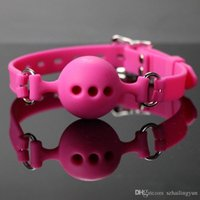 Wholesale Mouth Yoke Sex Toys - SM Adult supplies Pink and black three size Mouth ball plug soft mouth ball Mouth yoke silicone Sex bondage sex toy bound