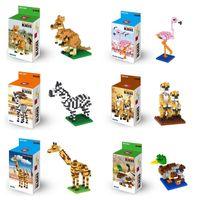 Wholesale Toy Kangaroos - Atomic Building Blocks Animal World Bricks Blocks Puzzle ins Flamingo Kangaroo Giraffe Zebra Meerkat For Kids Toys Gifts Free DHL 335