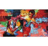 peintures corporelles nues achat en gros de-Epro encadré par Leroy Neiman (Rocky vs Apollo) peint à la main abstrait graffiti peinture à l'huile