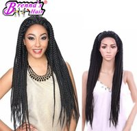 Wholesale Usa Wigs - Black To Brown Ombre Lace Front Wig Synthetic African American Long Twist Micro Braided Wigs For Black Women tangle free lace wigs USA UK