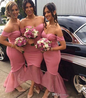 Wholesale Long Watermelon Red Dress - 2017 New Watermelon High Low Mermaid Bridesmaid Dresses Arabic Off Shoulders Backless Long Cheap Maid of the Honor Dresses