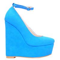 с закрытыми пальцами оптовых-Kolnoo женские закрытые Toe насосы пряжки Клин пятки замши свадьба суд летняя обувь синий XD218
