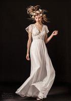 Wholesale London Chiffon Dress - vintage romantic empire wedding dresses 2018 temperley london short bell sleeves v neck retro sheer lace back sweep train
