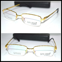 Wholesale Picture Frame Custom - Wholesale- Real picture Optical Custom made optical lenses Titanium alloy semi-rim GOLD frame Reading glasses +1 +1.5 +2+2.5 +3 +3.5 +4to+6