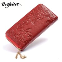 Wholesale S4 Genuine Leather Wallet - Fashion Women wallets Genuine Leather Wallet for iPhone 6 5 5S 6S 6 Plus Long zipper Cowhide Leather Purse for Samsung S4 S5 S6