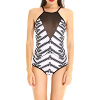 Wholesale Transparent Piece Bikini - Sexy One piece Swimsuit Black mesh transparent Swimwear Beach wear