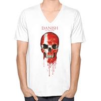Wholesale Denmark Silver - Denmark Skull Flag New Fashion Men's V-neck T-shirts Short Sleeve Summer Mens Tshirt Male Tops Tees Wholesale