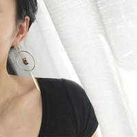 Wholesale European Dangle Pearl - European and American Jewelry Trade Earrings female personality geometric circle earrings pearl earrings long leaf female