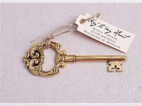 """Wholesale Antique Baby Bottles - New Arrival Key to My Heart"""" Antique Gold Bottle Opener wedding favors baby shower birthday gift"""