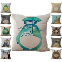 totoro bed toptan satış-Chinchilla Totoro Yastık Kılıfı Yastık kılıfı Keten Pamuk Atmak Yastık Kılıfı Yastık Yastık Drop Shipping PW431 kapakları