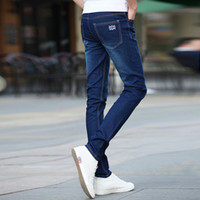 Wholesale Youth Pants Wholesale - Wholesale-2016 youth men's cultivate one's morality spring elastic jeans dark blue little feet trousers