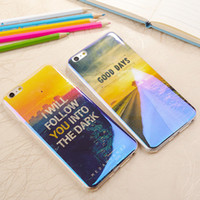 Wholesale Blu Cell Phone Wholesale - Cell phone case for iphone 6 6s 6plus 6splus,7 7plus IMD Blu-ray TPU Beautiful scenery blue light sunset sunset soft shell