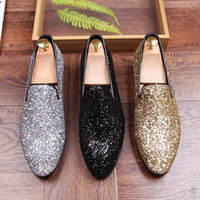 Wholesale Silver Glittered Wedding Shoes - Male Pointed toe Casual shoes Fashion Rhinestone Glitter Slip-On Flats Genuine Leather Men Loafers Driving shoes