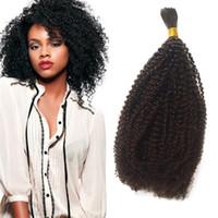 Wholesale 22 zipper - Human Braiding Bulk Hair for Black Women Mongolian Tight Afro Kinky Curly Bulk Hair Extensions 1 Bundle FDSHINE