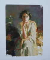 Wholesale Yellow Oil Paint Canvas - Framed Pino Daeni YELLOW SHAWL,Hand-painted Portrait Art Oil Painting On High Quality Canvas Wall Decoration Multi size Free Shipping