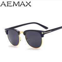 Wholesale Vintage Half Frame Sunglasses Wholesale - Wholesale-AEMAX 2016 Fashion Half Frame Tom Sunglasses Men Women Brand Designer Vintage Sun Glasses Eyewear UV400 Oculos de sol AE053