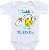 Wholesale Custom Baby Boy Outfits - Daddy's Drinking Buddy Onesie Daddys Buddy outfit baby onesie baby girl onesies for boy custom baby shirt