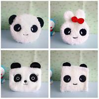 Wholesale kawaii panda plush - Wholesale- Kawaii Panda Coin Purse Women Girls Student Pen Pencil Coins Bag Female Soft Plush Small Wallets for girl