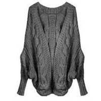 Wholesale Women Batwing Jacket - Wholesale-New Winter Women's Loose Thick Wool Sweater Batwing Sleeve Knit Cardigan Jacket Coats 5 LS8