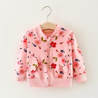 Wholesale Girls Flower Cardigan Print - 2017 Autumn Cotton Zipper Coat Baby Girls Clothing Children Flower Printed Coat 3 Colors Trista