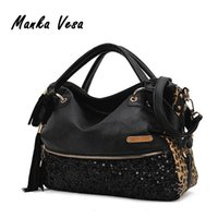 Atacado-Manka Vesa 2016 Mulheres PU Leather Shoulder Handbag Leopard Print Sequins Decor Luxury Hang Bag Moda Mulheres Shoulder Tote Bag