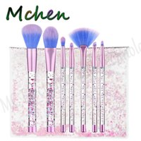 Wholesale Pvc Transparent - Glitter Makeup Brushes Crystal Transparent Liquid Brush with PVC Pouch Unicorn Mermaid pincel maquiagem Powder Foundation Make up brush sets
